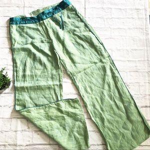 Soft Surroundings Linen Silk WIDE leg pants green